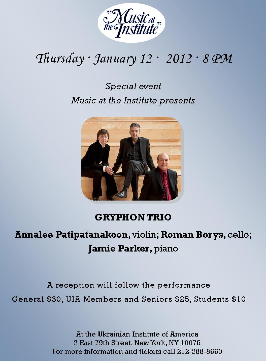1 - MATI Gryphon Trio, January 12, 2012, 01.12.12