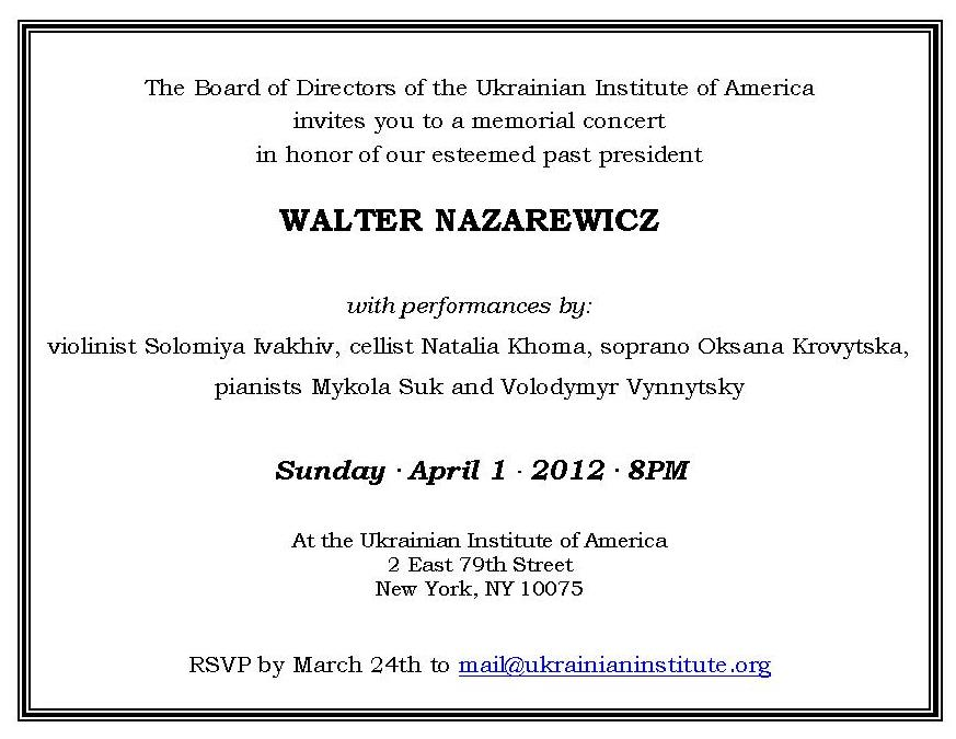 13 - Memorial Concert in honor of Walter Nazarewicz, 04.01.12