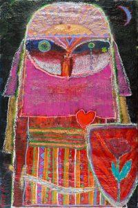 Max Vityk, Desert Guardian (no. 12), 2016, acrylic, enamel, spray paint, oil bar, foam on canvas,118 x 78 inches