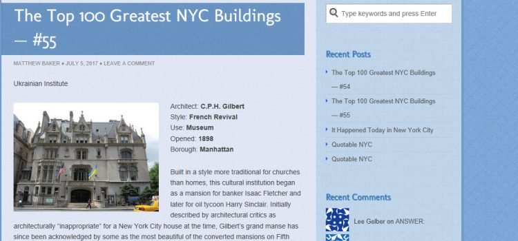 Ukrainian Institute is #55 among Top 100 Greatest NYC Buildings